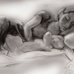 Mother and Child - Charcoal Drawing